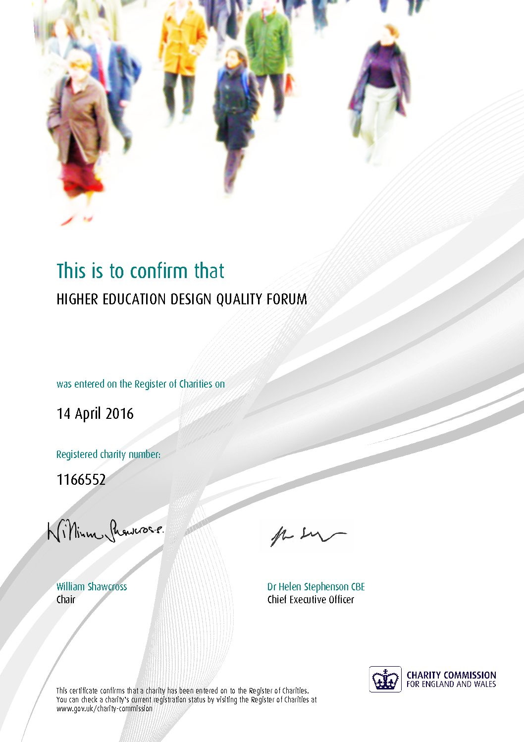 HEDQF Charity Registration Certificate
