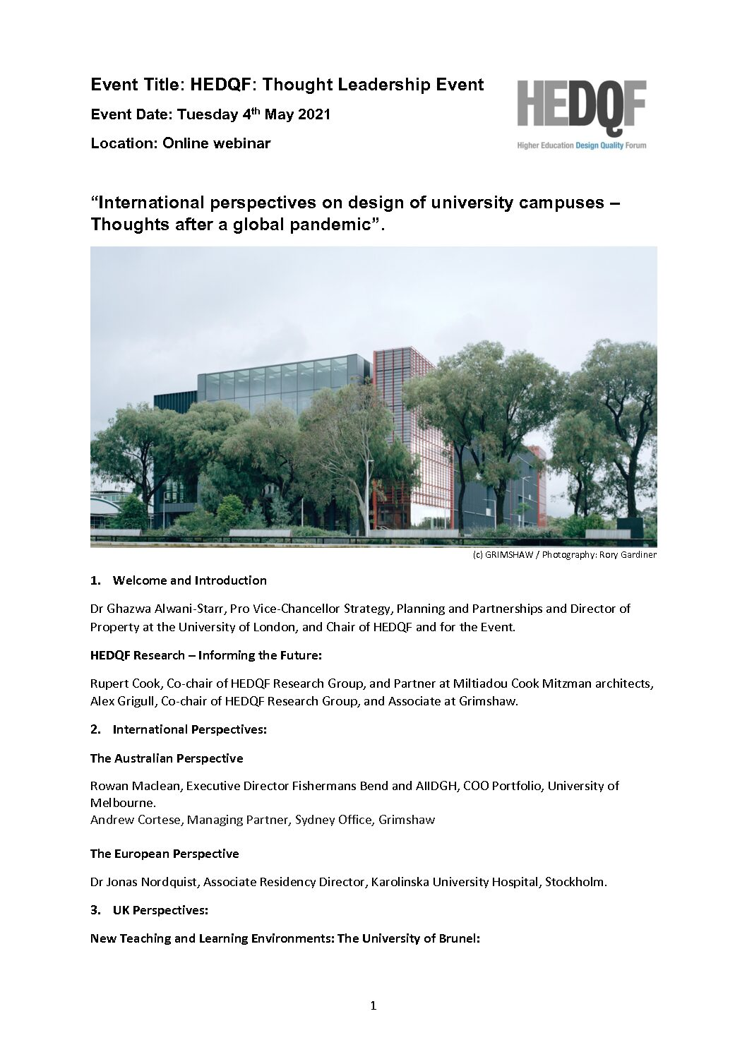 International perspectives on design of university campuses – Thoughts after a global pandemic 4/5/2021